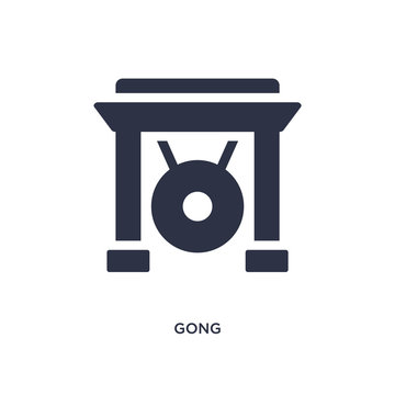 gong icon on white background. Simple element illustration from asian concept.