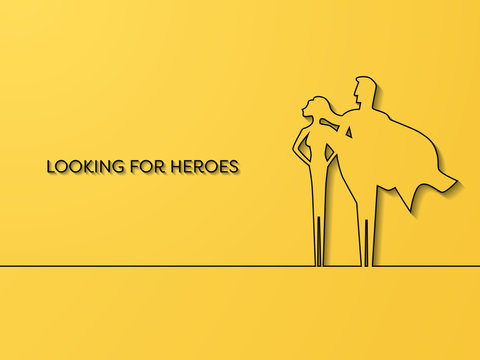 Business superhero recruitment vector concept. Symbol of career opportunity, strength, leaders, motivation, power, confidence and courage.