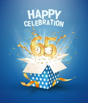 65 th years anniversary and open gift box with explosions confetti. Isolated design element. Template sixty fifth birthday celebration on blue background vector Illustration