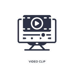 video clip icon on white background. Simple element illustration from cinema concept.