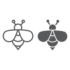 Bee line and glyph icon, animal and honey, insect sign, vector graphics, a linear pattern on a white background.