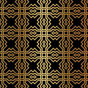 Luxury Art Deco Pattern Of Geometric Elements. Seamless Pattern. Vector Illustration. Design For Printing, Presentation, Textile Industry. Ethnic Arabic, Fashion Decorative Ornament. Black, gold color
