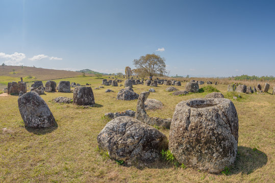 Plain of Jars, Thong Hai Hin Site 1, at Thomghaihin near the town of Phonsavan in the province Xieng Khuang in Laos in Southeastasia.