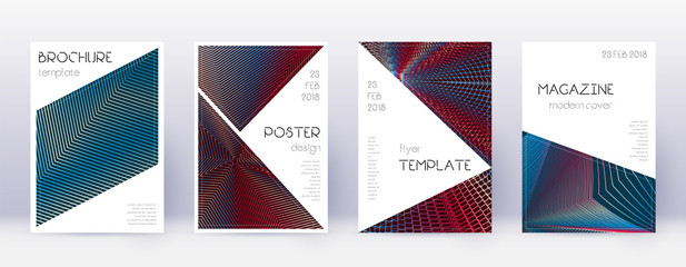 Triangle brochure design template set. Red abstrac