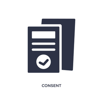 consent icon on white background. Simple element illustration from gdpr concept.