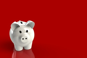 Close up of piggy bank isolated on red background, Copy space, Finance concept, 3d rendering