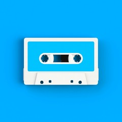 Close up of vintage audio tape cassette illustration on blue background, Top view with copy space, 3d rendering