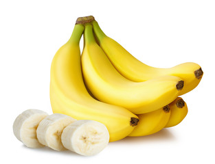 sliced five bananas isolated on white background with clipping path shadow