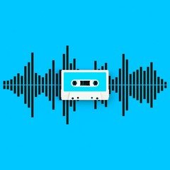 Close up of vintage audio tape cassette with sound waves concept illustration on blue background, Top view with copy space, 3d rendering