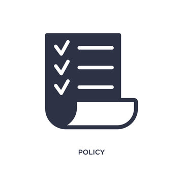policy icon on white background. Simple element illustration from strategy concept.
