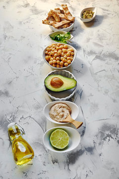 Avocado Hummus, recipe ingredients. Dish based on chickpeas and avocado.