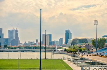 Spoed Foto op Canvas Abu Dhabi Singapore riverside, HDR image