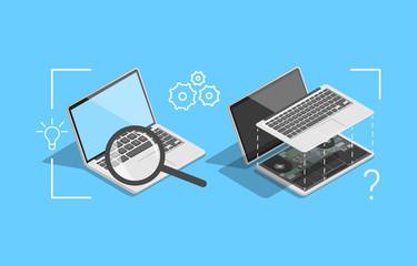 computer repair, laptop inside, repair process