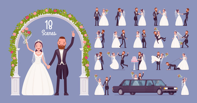 Bride and groom on wedding ceremony character set. Elegant tuxedo man, woman in white dress on traditional celebration, married couple in love. Full length, different views, gestures, emotions, poses