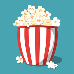 Popcorn icon design. Popcorn box isolated on background. Vector illustration.