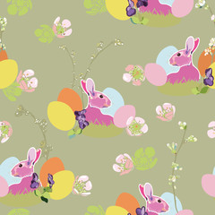 Poster de jardin Papillons Brown pattern with bunny and easter nest.