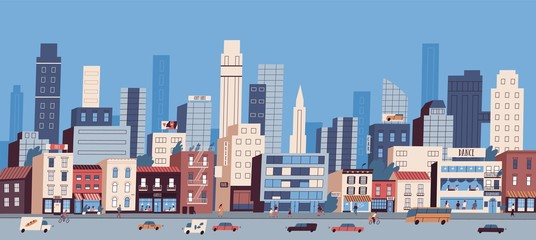 Urban landscape or cityscape with buildings, skyscrapers and transport riding along road. Big city life. Street view of modern residential area. Colorful vector illustration in flat cartoon style.