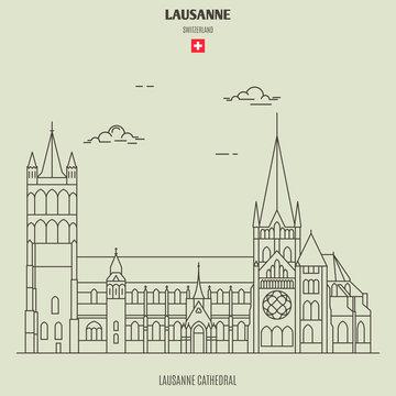 Lausanne Cathedral in Lausanne, Switzerland. Landmark icon