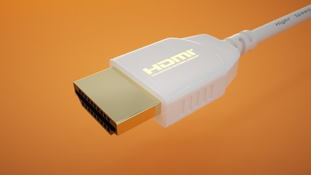HDMI connector on an orange background. High quality.