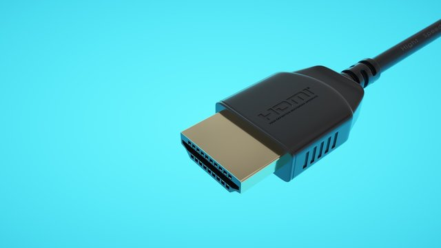 Black HDMI connector on bright background. Foreground.