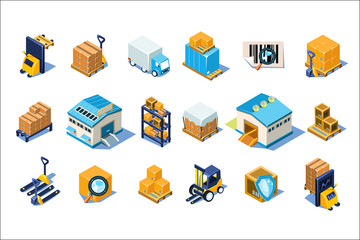 Warehouse icons set, storage equipment, warehouse building, forklift, storage racks, pallets with goods vector Illustrations on a white background
