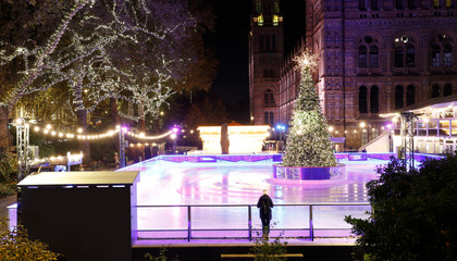 Fotomurales - Night View of Natural History Museum, Winter Ice Rink
