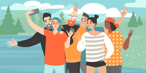 A girl makes a group selfie with happy friends on the smartphone camera against the background of the lake. Vector illustration of a group selfie in cartoon style. Friends relaxing outside the city