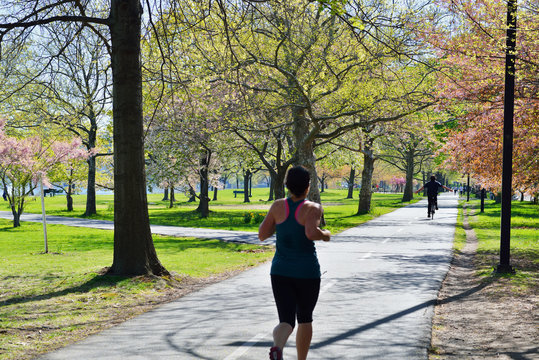 Jogging and Biking in Boston Esplanade. Spring Background