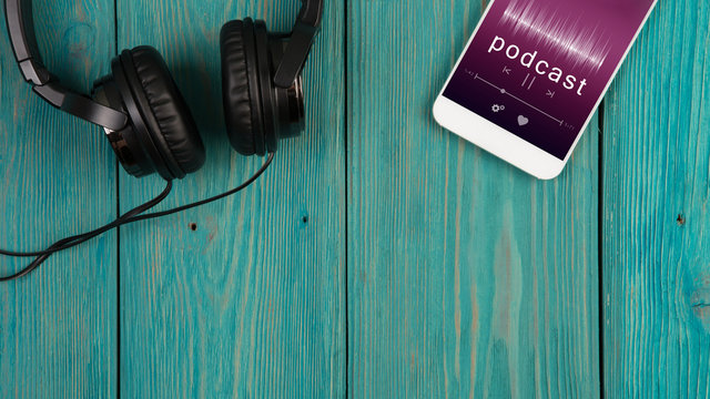Listen podcast online concept - online music player app on smartphone