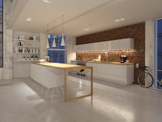 3D-Illustration of a new modern city loft apartment by night. 3d rendering