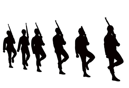 soldiers marching, silhouette vector