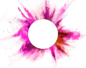 Fototapete - Explosion of pink powder on white background