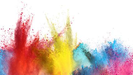 Fototapete - Multi colored powder explosion on white background