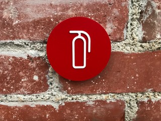 Fire extinguisher Sign. Photo image