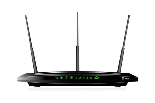 Dual Band Wireless SOHO router with  WAN port  and 4 LAN ports. The router has 3 antennas. Black colour. Vector illustration.