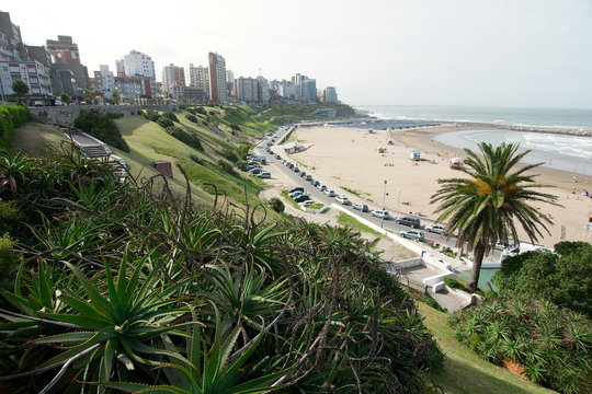 View of the coast with part of the city skyline in the background, Mar del Plata, Buenos Aires, Argentina.