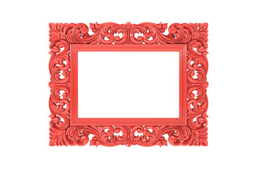 Living Coral carved openwork frame for picture or photo on white isolated background. Color of the year 2019. Minimal border composition. Frame with classic pattern, art deco, trend color.