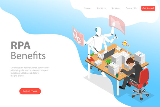 Isometric flat vector landing page template of RPA vs manual labor, robotic process automatisation, RPA, AI, artificial intelligence, machine learning.