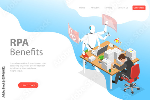 Isometric flat vector landing page template of RPA vs manual