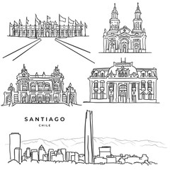 Santiago Chile famous architecture hand drawn icons