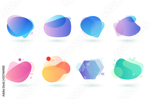 Wall mural Set of abstract graphic design elements. Vector illustrations for logo design, website development, flyer and presentation, background, cover design, isolated on white.
