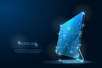 Polygonal Low poly desktop monitor. IT Symbol of digital and Internet. Lines and Dots