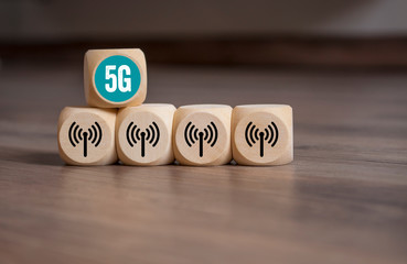 Würfel mit Netzabdeckung Bandbreite 5G