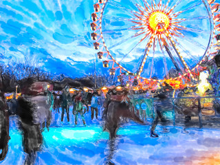 Watercolor illustration of Berlin christmas fair with ice skating sport and ferris wheel.