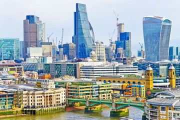 View of the city center with the lots of modern skyscrapers in London.