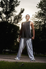 AJ Walker (18 years old) poses for a portrait on the basketball court at Barstow Park in Vermillion, South Dakota on June 18, 2009.