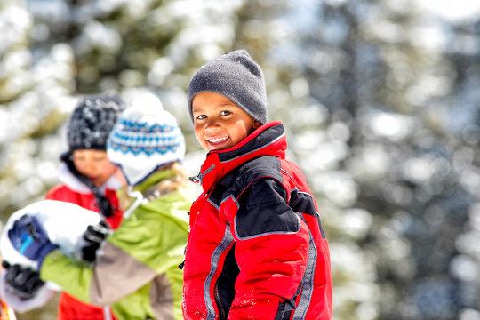 Portrait of boy in winter jacket