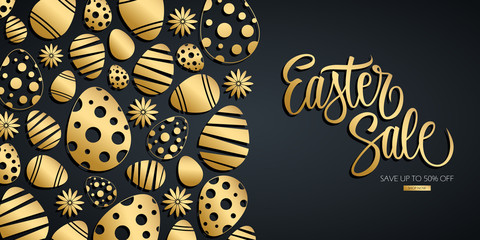 Easter Sale special offer banner with hand drawn lettering and gold colored easter eggs. Discount up to 50% off. Shop now! Vector illustration for Easter holiday shopping.