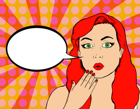 Pop illustration of a pretty woman with pin up look with a bubble in which you can put an advertising message