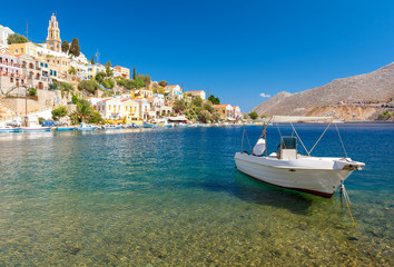 Typical greek landscape in Symi island, Dodecanese, Greece